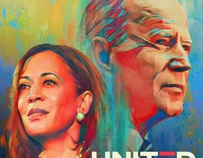 Headshots of Joe Biden and Kamala Harris set against a colorful background with the word UNITED in the foreground