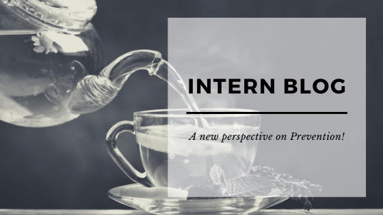 A picture of a teapot pouring tea into a cup with an overlay saying Intern Blog: a new perspective on prevention
